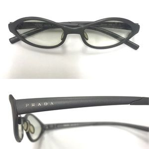 Prada gunmetal grey cat eye reading glasses